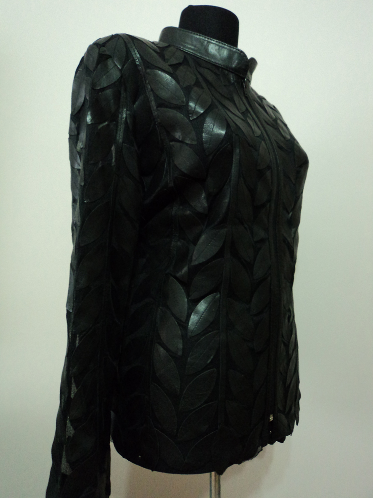 Black Leather Leaf Jacket for Women [ Design 04 ] Genuine ...