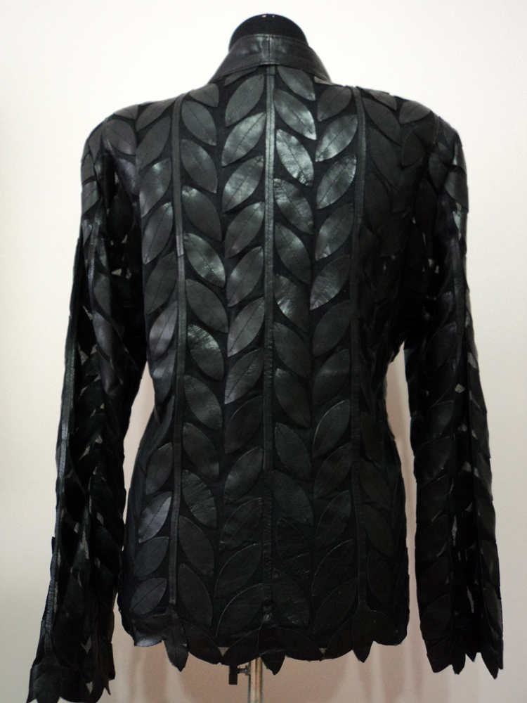 Black Leather Leaf Jacket for Women Design 04 Genuine Short Handmade Lightweight Meshed