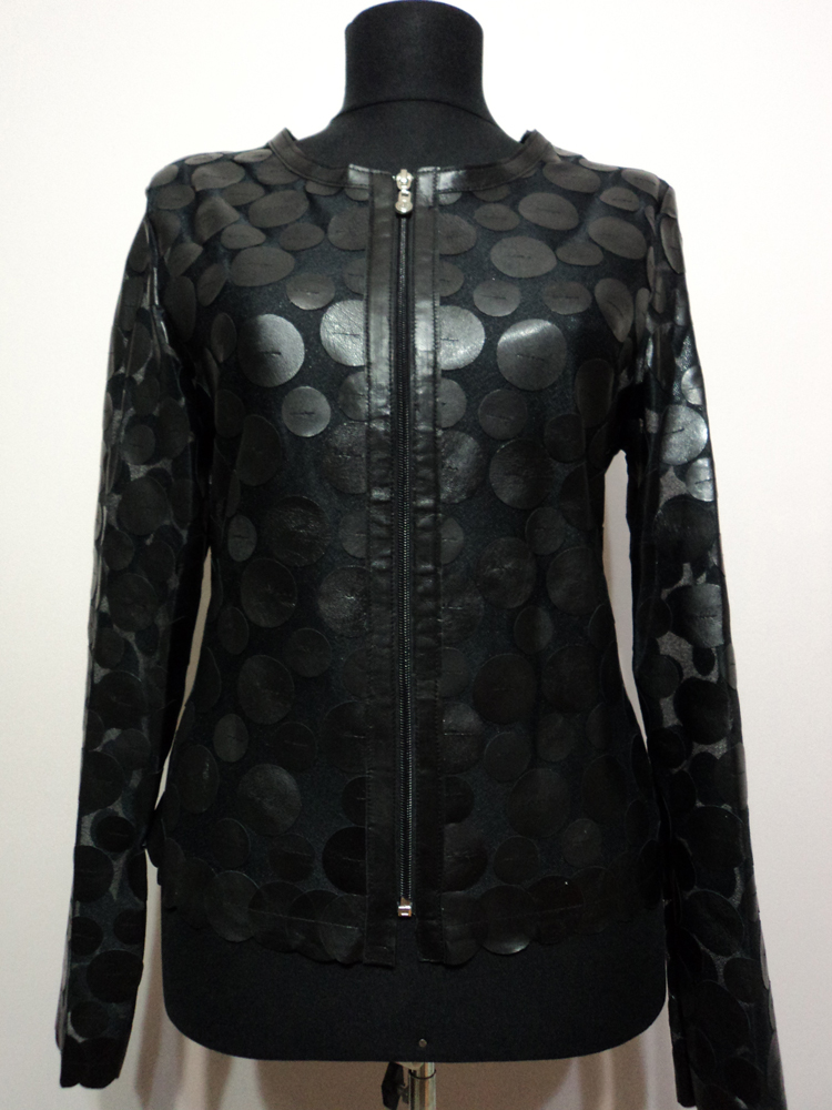 Black Leather Leaf Jacket for Women Design 07 Genuine Short Zip Up Light Lightweight