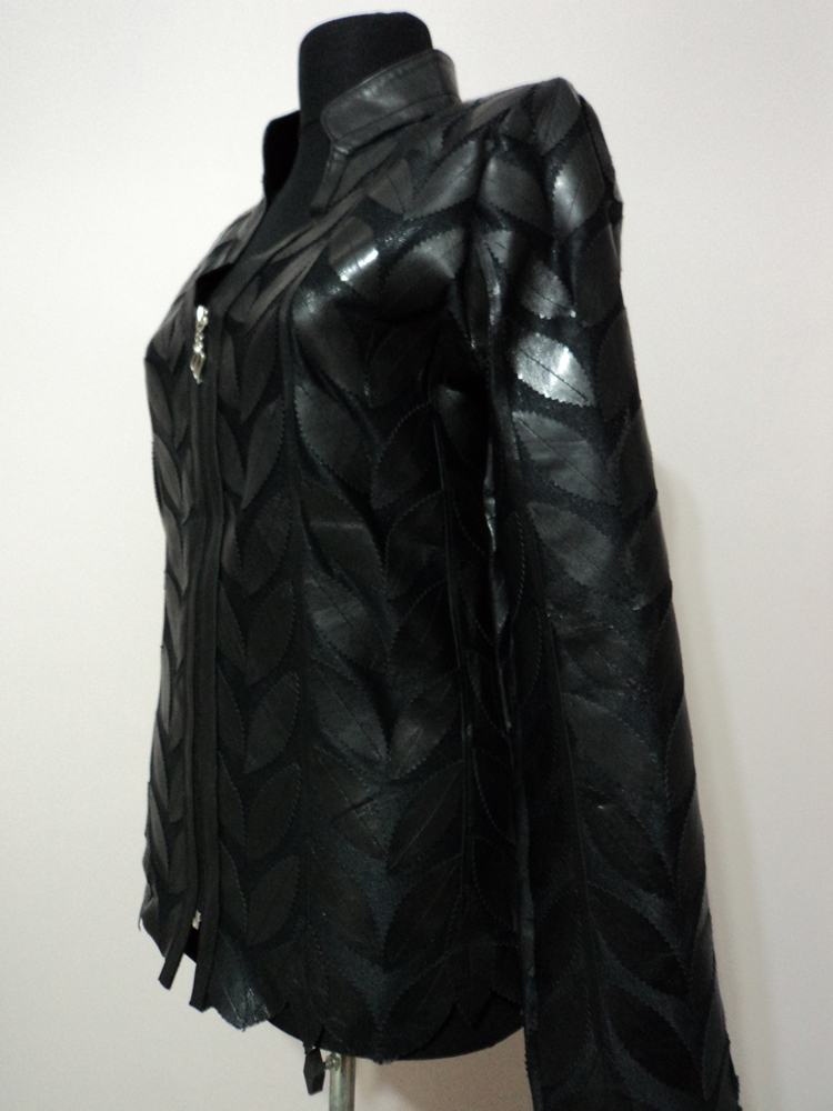 Black Leather Leaf Jacket for Women V Neck Design 08 Genuine Short Zip Up Light Lightweight