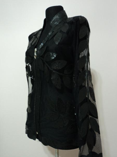 V Neck Black Snake Pattern Leather Leaf Jacket For Women