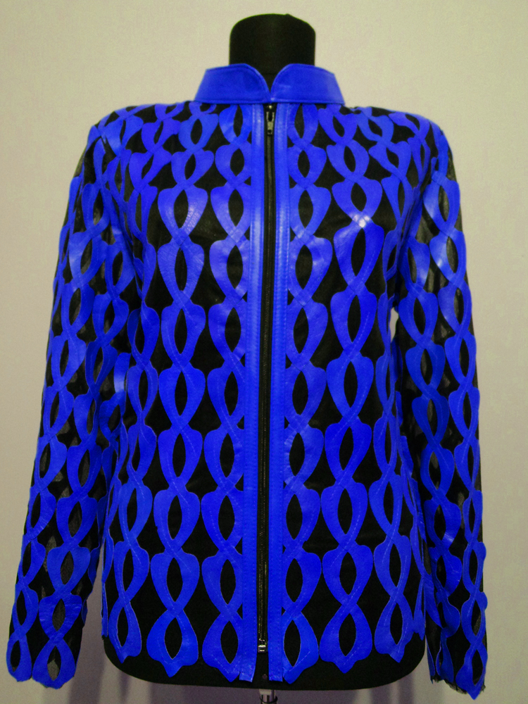 Blue Leather Leaf Jacket for Women Design 05 Genuine Short Zip Up Light Lightweight