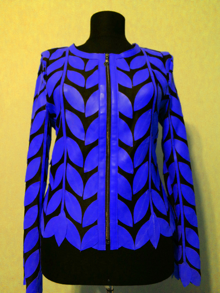 Blue Leather Leaf Jacket for Women Round Neck Design 11 Genuine Short Zip Up Light Lightweight