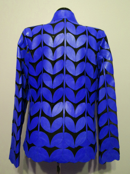 Blue Leather Leaf Jacket for Women V Neck Design 09 Genuine Short Zip Up Light Lightweight