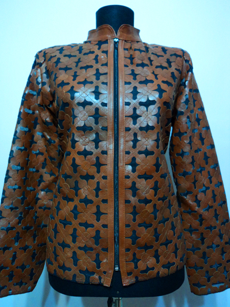 Brown Leather Leaf Jacket for Women Design 06 Genuine Short Zip Up Light Lightweight