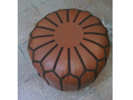 Brown Leather Pouffe Pouf Puff Footstool [ Click to See Photos ]