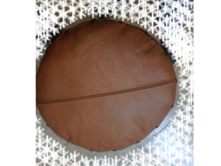 Brown Leather Pouffe Pouf Puff Footstool