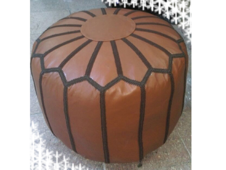 Burgundy Leather Pouffe Pouf Puff Footstool Ottoman [ Click to See Photos ]