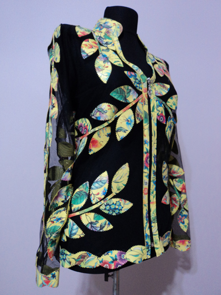 Flower Pattern 1 Yellow Leather Leaf Jacket for Women V Neck Design 10 Genuine Short Zip Up Light Lightweight