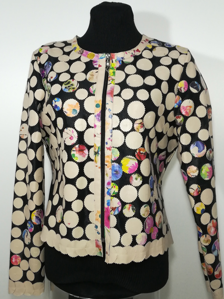 Flower Pattern Beige Leather Leaf Jacket for Women Design 07 Genuine Short Zip Up Light Lightweight