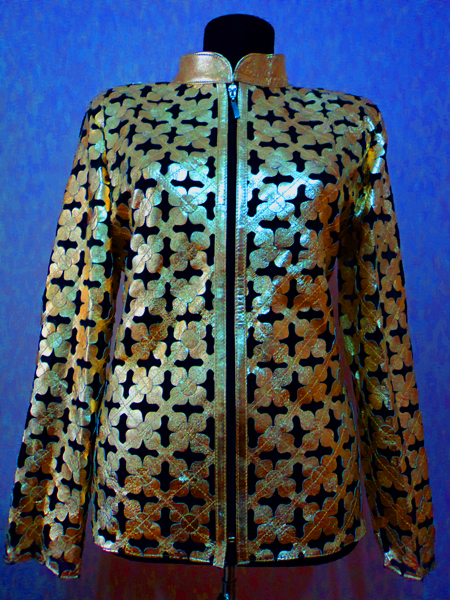 Gold Leather Leaf Jacket for Women Design 06 Genuine Short Zip Up Light Lightweight