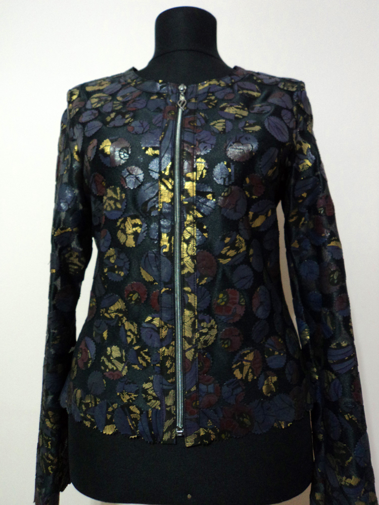 Gold Spotted Navy Blue Leather Leaf Jacket for Women Design 07 Genuine Short Zip Up Light Lightweight