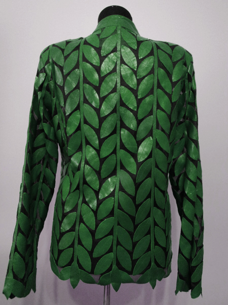 Green Leather Leaf Jacket for Women Design 04 Genuine Short Zip Up Light Lightweight