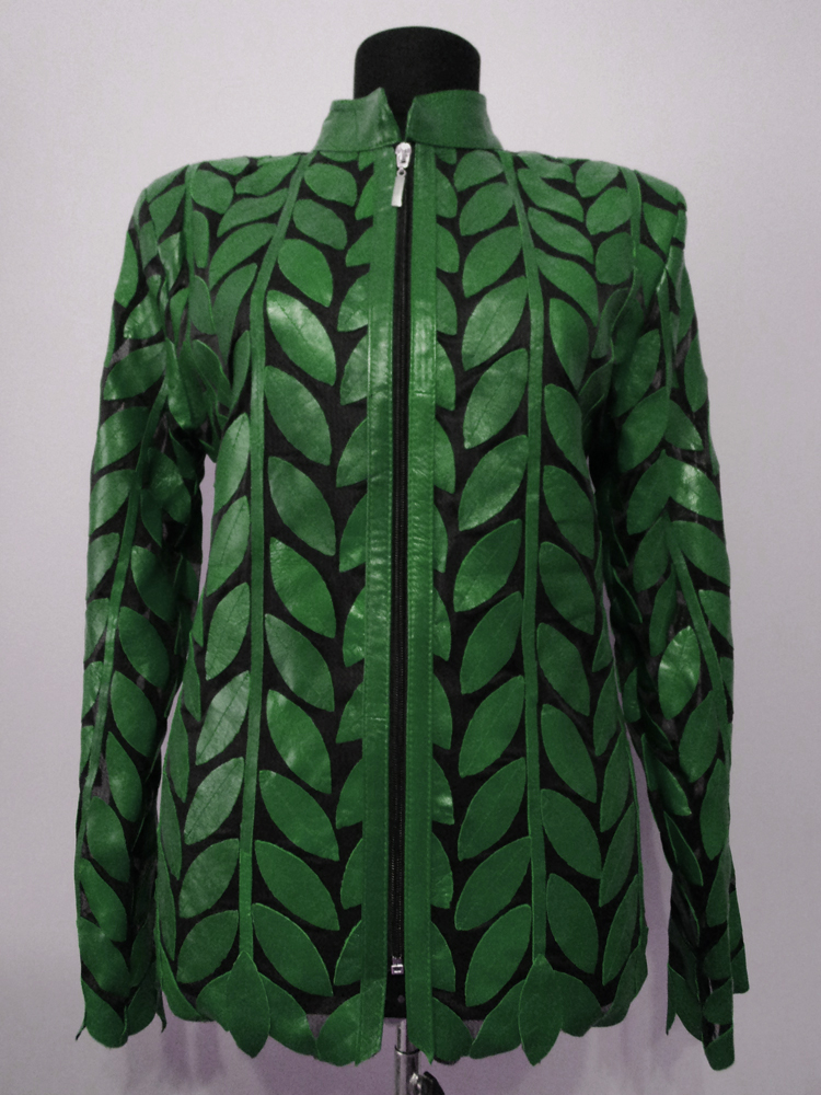 Green Leather Leaf Jacket for Women [ Design 04 ] Genuine ...
