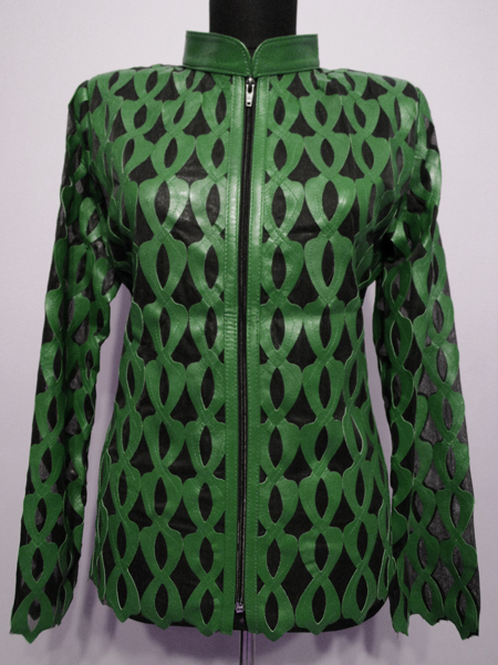 Green Leather Leaf Jacket for Women Design 05 Genuine Short Zip Up Light Lightweight [ Click to See Photos ]