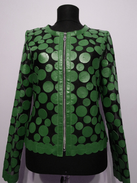 Green Leather Leaf Jacket for Women Design 07 Genuine Short Zip Up Light Lightweight