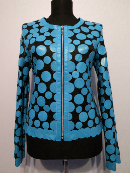Light Blue Leather Leaf Jacket for Women Design 07 Genuine Short Zip Up Light Lightweight [ Click to See Photos ]