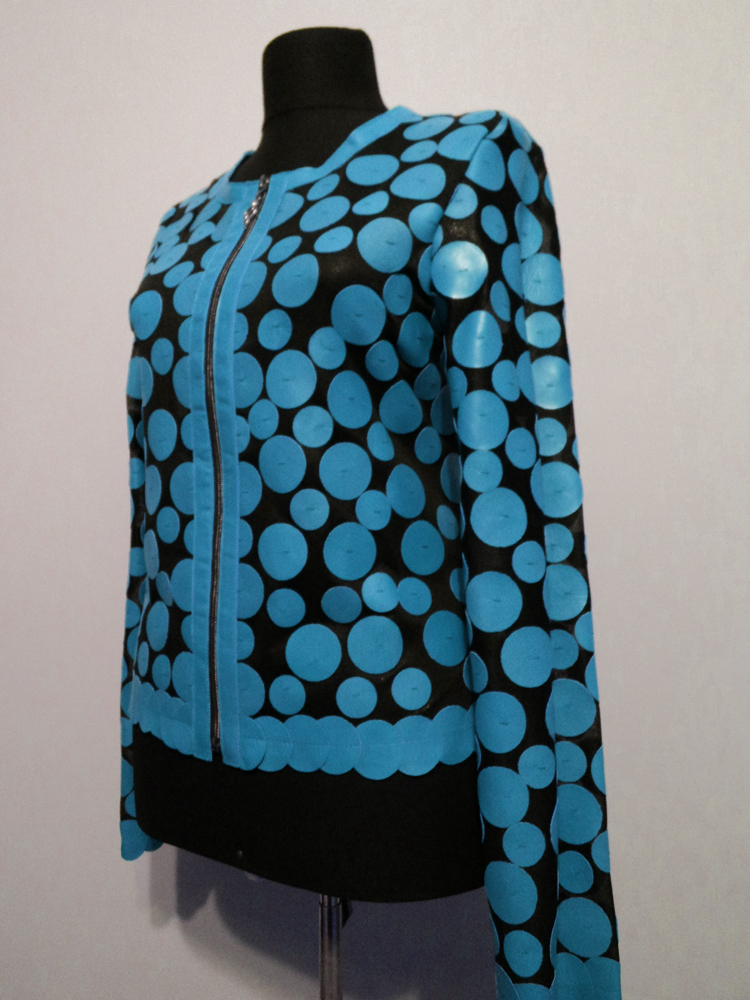 Light Blue Leather Leaf Jacket for Women Design 07 Genuine Short Zip Up Light Lightweight