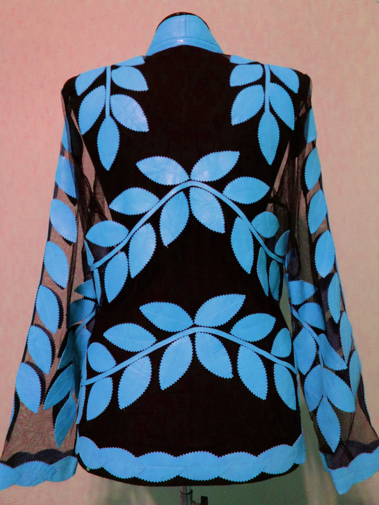 Light Blue Leather Leaf Jacket for Women V Neck Design 10 Genuine Short Zip Up Light Lightweight