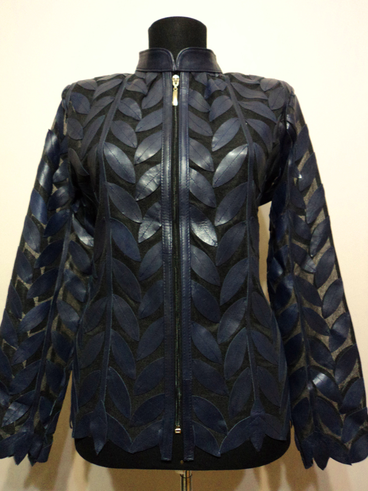 Navy Blue Leather Leaf Jacket for Women [ Design 04 ...