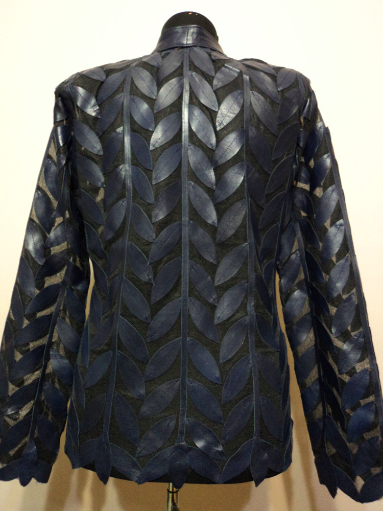 Navy Blue Leather Leaf Jacket for Women Design 04 Genuine Short Handmade Lightweight Meshed