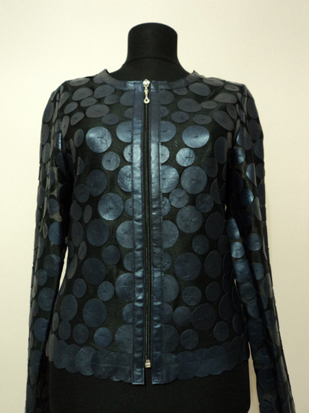 Navy Blue Leather Leaf Jacket for Women Design 07 Genuine Short Zip Up Light Lightweight [ Click to See Photos ]