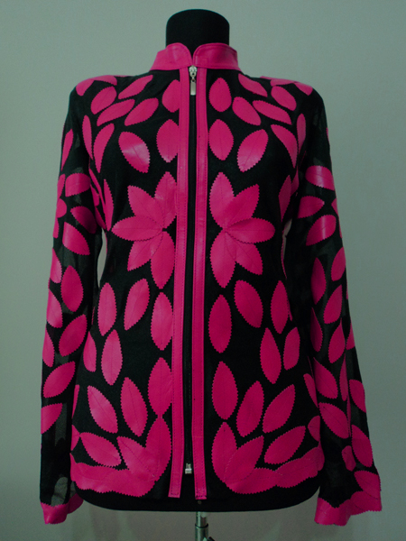 Pink Leather Leaf Jacket for Women