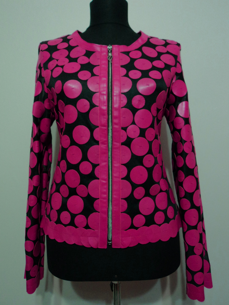 Pink Leather Leaf Jacket for Women Design 07 Genuine Short Zip Up Light Lightweight