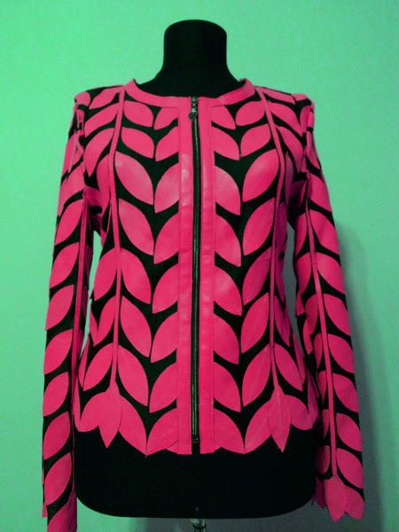 Pink Leather Leaf Jacket for Women Round Neck Design 11 Genuine Short Zip Up Light Lightweight [ Click to See Photos ]