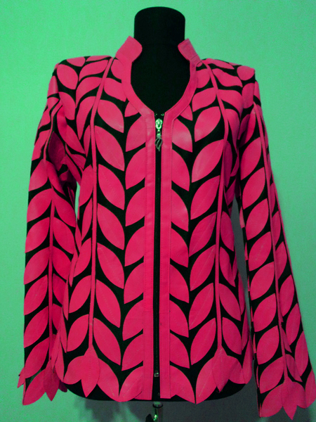 Pink Leather Leaf Jacket for Women V Neck Design 08 Genuine Short Zip Up Light Lightweight