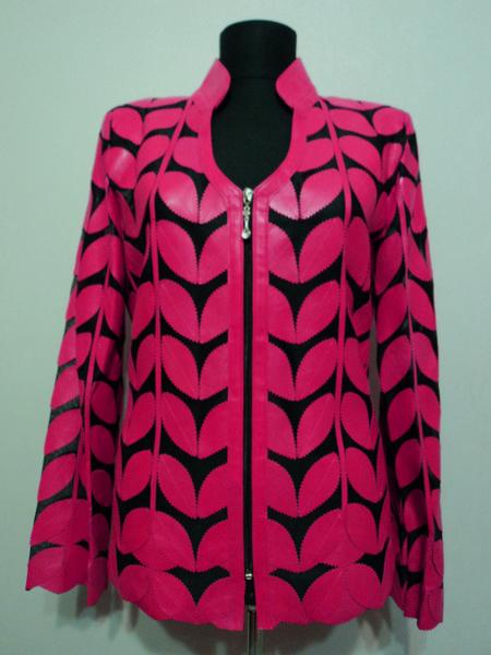 V Neck Leather Leaf Jacket for Women [ Design 09 ] Genuine