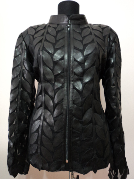 Plus Size Black Leather Leaf Jacket for Women Design 04 Genuine Short Zip Up Light Lightweight [ Click to See Photos ]