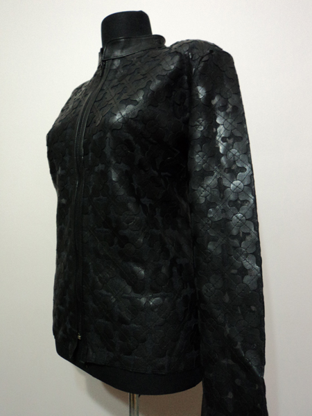 Plus Size Black Leather Leaf Jacket for Women Design 06 Genuine Short Zip Up Light Lightweight