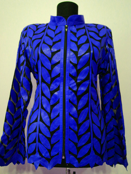 Plus Size Blue Leather Leaf Jacket Women Design Genuine Short Zip Up Light Lightweight