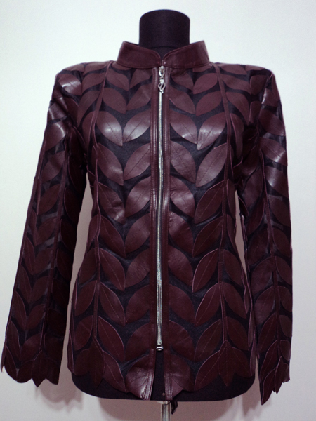 Plus Size Burgundy Leather Leaf Jacket for Women Design 04 Genuine Short Zip Up Light Lightweight [ Click to See Photos ]
