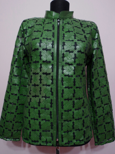 Plus Size Green Leather Leaf Jacket for Women Design 06 Genuine Short Zip Up Light Lightweight