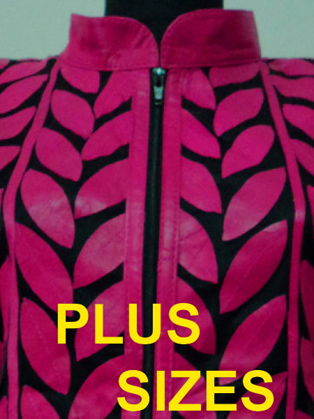 Click to See Available Colours of Plus Size Leather Leaf Jackets for Women Design 04 Genuine Short Zip Up Light Lightweight