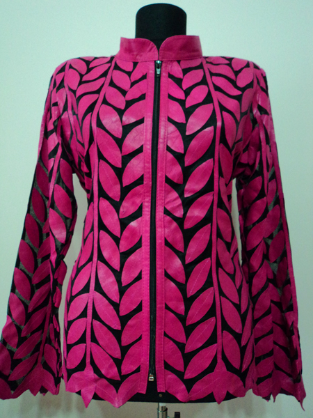 Plus Size Pink Leather Leaf Jacket for Women Design 04 Genuine Short Zip Up Light Lightweight [ Click to See Photos ]