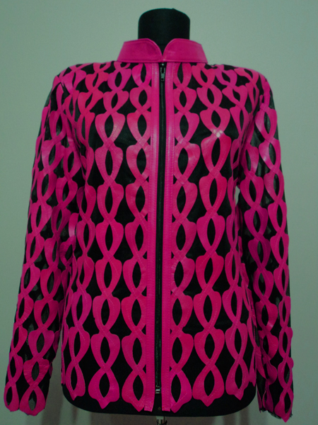 Plus Size Pink Leather Leaf Jacket for Women Design 05 Genuine Short Zip Up Light Lightweight [ Click to See Photos ]