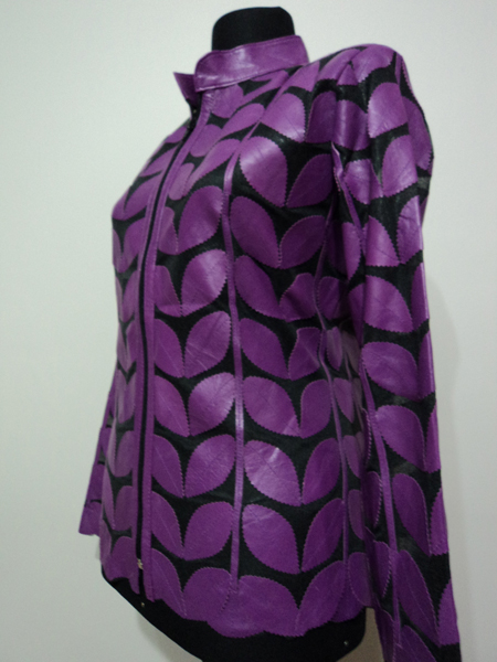 Plus Size Purple Leather Leaf Jacket Women Design Genuine Short Zip Up Light Lightweight