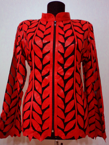 Plus Size Red Leather Leaf Jacket Women Design Genuine Short Zip Up Light Lightweight