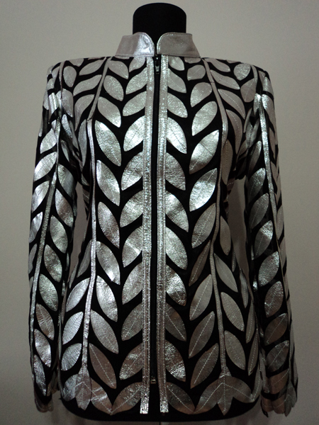 Plus Size Silver Leather Leaf Jacket Women Design Genuine Short Zip Up Light Lightweight
