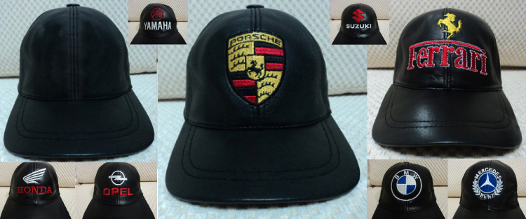 Porsche Ferrari Harley Davidson Leather Hats / Caps