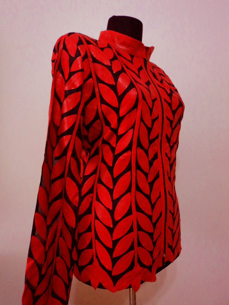 Red Leather Leaf Jacket for Women Design 04 Genuine Short Handmade Lightweight Meshed