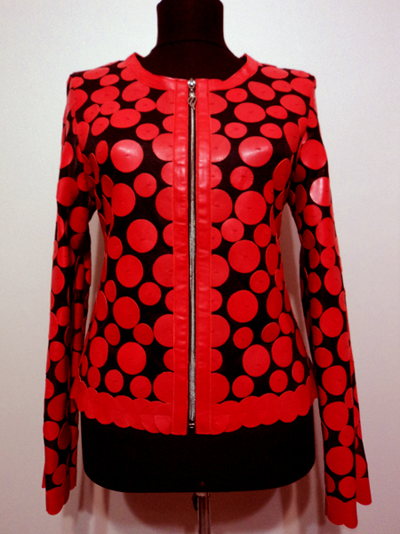 Red Leather Leaf Jacket for Women Design 07 Genuine Short Zip Up Light Lightweight [ Click to See Photos ]