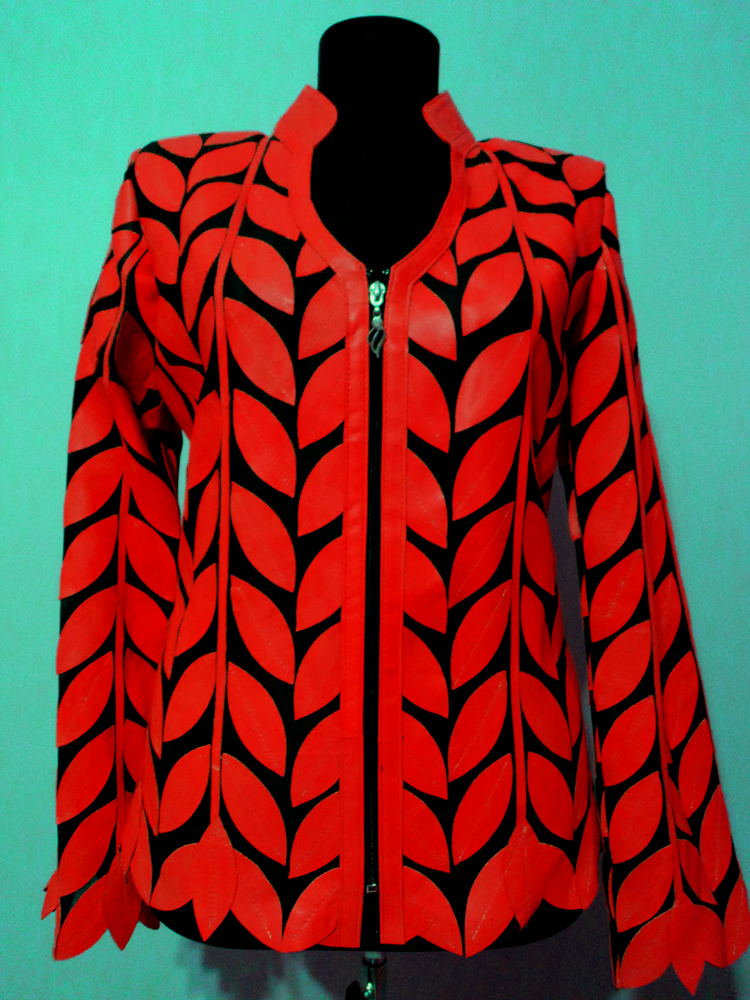 Red Leather Leaf Jacket for Women V Neck Design 08 Genuine Short Zip Up Light Lightweight