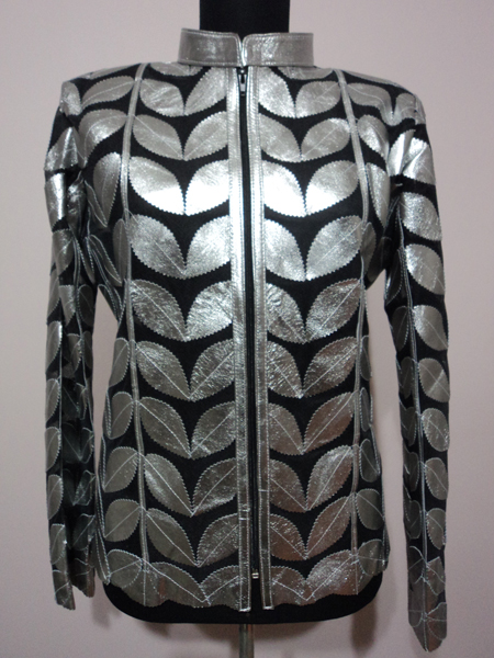 Shiny Silver Gray Leather Leaf Jacket