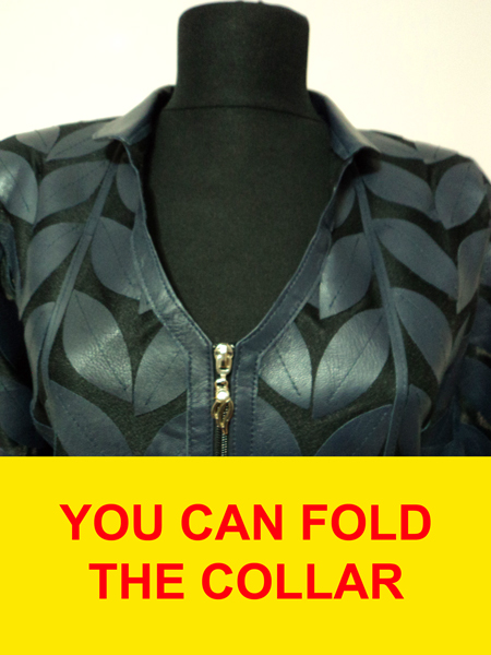 Silver Leather Leaf Jacket for Women V Neck Design 08 Genuine Short Zip Up Light Lightweight