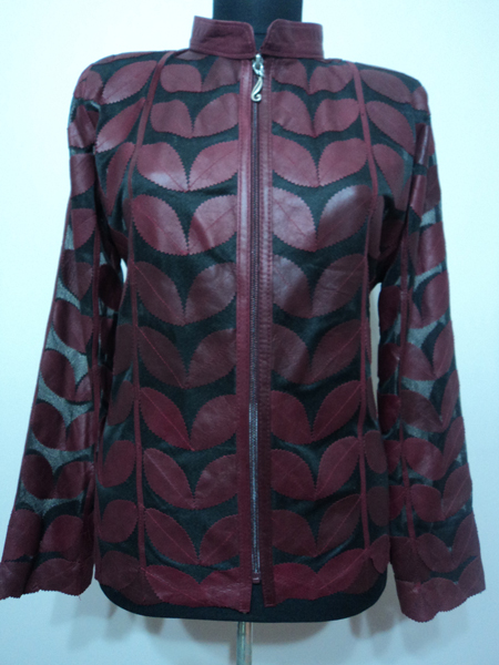 Women Burgundy Leather Jacket