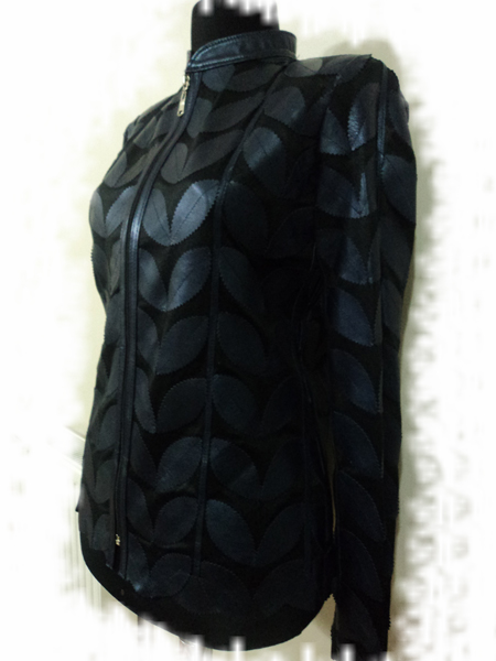 Women Navy Blue Leather Jacket